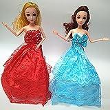 MAJGLGE 5pcs Doll Robes de Mariage Bowknot Dentelle Robe de fête Vêtements pour Barbie 38,1cm–Couleur aléatoire et de Style