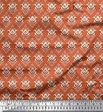 Soimoi Orange Satin Seide Stoff Wirbel & Blumen