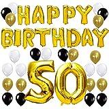 KUNGYO Happy Birthday Buchstaben Ballons +Nummer 50 Mylarfolie Ballon + 24 Stück Schwarzes Gold Weiß Luftballons -Perfekte 50 Jahre alte Geburtstagsfeier Dekoration Lieferungen