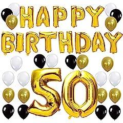 Idea Regalo - KUNGYO Happy Birthday Lettere Alfabeto Balloon+Numero 50 Mylar Foil Palloncini+24 Pezzi Oro Bianco Nero Lattice Balloons- Perfetto per Decorazioni di Festa di Compleanno di 50 Anni