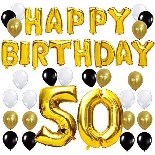 y Buchstaben ballons +Nummer 50 Mylarfolie Ballon + 24 Stück Schwarzes Gold Weiß Luftballons -Perfekte 50 Jahre alte Geburtstagsfeier Dekoration Lieferungen (Schwarz Brief Ballons)