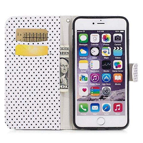 JAWSEU Coque Etui pour iPhone 6S Plus Portefeuille Pu,iPhone 6 Plus Étui Folio en Cuir,iPhone 6 Plus/6S Plus 5.5 Coque à Rabat Magnétique Housse Etui de Protection élégant Une Fleur Papillon Point d'o Noir