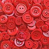 Knopfsortiment aus Acryl / Kunstharz, für Karten und Verzierungen, Rot, 100 g-Beutel