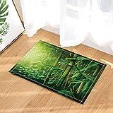 gohebe Garten Thema Decor Grün Bambus mit Sunshine Bad Teppiche rutschhemmend Fußmatte Boden Eingänge Outdoor Innen vorne Fußmatte Kinder Badematte 39,9x 59,9cm Badezimmer Zubehör