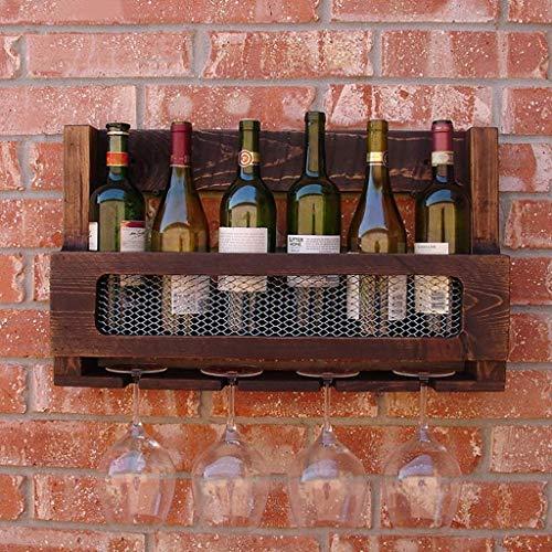 GWFVA Weinregal Vintage American Massivholz Weinglashalter Kreative Bar Home Wanddekoration Rahmen.