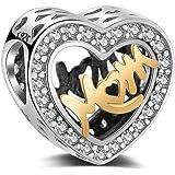 """Charm con scritta in inglese""""Mom"""" in argento Sterling 925, perlina compatibile con e tutti i braccialetti e collane charm eur"""