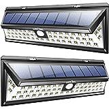 Litom 2 Packs Lámparas Solares Gran Angular Impermeables Súper Potente de 800 lumenes en 270° con 54 LEDs Fácil de Instalar,2 Unidades de Luces Solares Exterior 800lm de Paredes con Sensor de Movimiento de 8 metros en 120° y 3 Modos de Iluminación, 2 Luces Lámparas Focos Solares de Angulo Amplio, Iluminación Exterior de Seguridad para Jardin, Terraza, Garaje, Camino de Entrada(2 Luces & Tornillos para Instalación Incluídos)