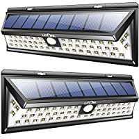 Litom 2 Packs Lámparas Solares Gran Angular Impermeables Súper Potente de 800 lumenes en 270° con 54 LEDs Fácil de Instalar,2 Unidades de Luces Solares Exterior 800lm de Paredes con Sensor de Movimiento de 8 metros en 120° y 3 Modos de Iluminación, 2 Luces Lámparas Focos Solares de Angulo Amplio, Il