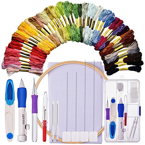 Stickerei Starter Kit Cross Stitching Nähset Beinhaltet Stickerei Stitching Punch Nadel Set, Bambus Stickerei Hoop, 50 Farbe Threads, Kreuzstich Tuch, Stitch Ripper und - Punch-stickerei-starter-kit