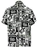 *La Leela* Pulsante ntage surf sulla camicia hawaiana degli uomini 993 nero 176