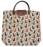 Tapisserie Damen Wegpackbare Einkaufstasche im Signare stil Lustige Katzen