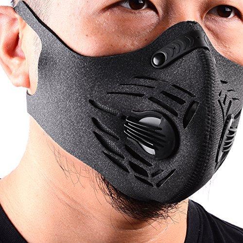 Basecamp Staubdicht Maske Ohrbügel Klettverschluss Anti-Verschmutzungsmaske Aktivierte Kohlenstoff Filtration Abgas Anti Pollen Allergie für Motorrad Mountain-Biken Laufen Radfahren alle Outdoor-Aktivitäten