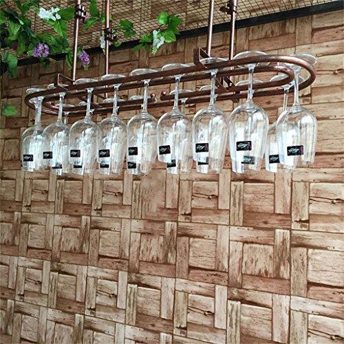 JIA JIA HOME- Ringförmige Weinglas-Gestell-Decken-hängende hängende Wein-Flaschen-Halter-Metalleisen-Becher-Schalen-Regal-Wand-Dekorations-Einheits-Rahmen, 30-60cm justierbare Höhe ( Farbe : Bronze , größe : L60*W25cm )