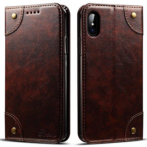 HARRMS Apple iPhone X Leder Hülle Flip Case Handytasche und Brieftasche mit Kreditkarten Kartenfach mit Unsichtbarem Magnet Verschluss Standfunktion, Koffee