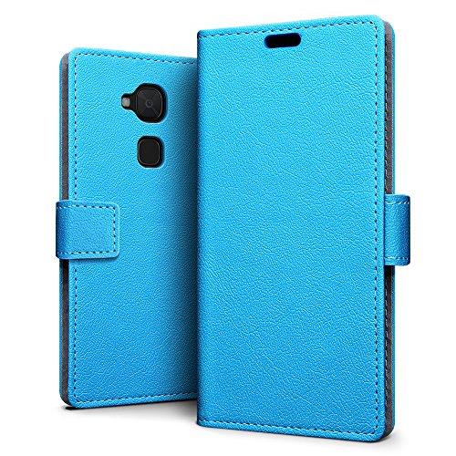 SLEO BQ Aquaris V Plus/BQ Aquaris VS Plus Hülle, Leder Case PU Ledertasche Magnet [Vollständigen Schutz] Flip Case mit Standfunktion Kartenfächer im Bookstyle - Blau