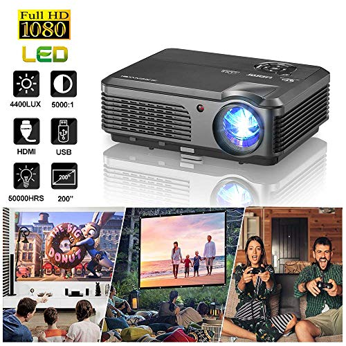 WIKISH HD Video Projector 1080P ...