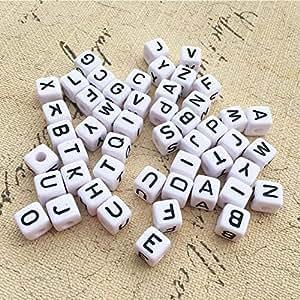 500 Weiß Schwarz Buchstaben Acryl Würfel Perlen Spacer Beads 6x6mm  JO
