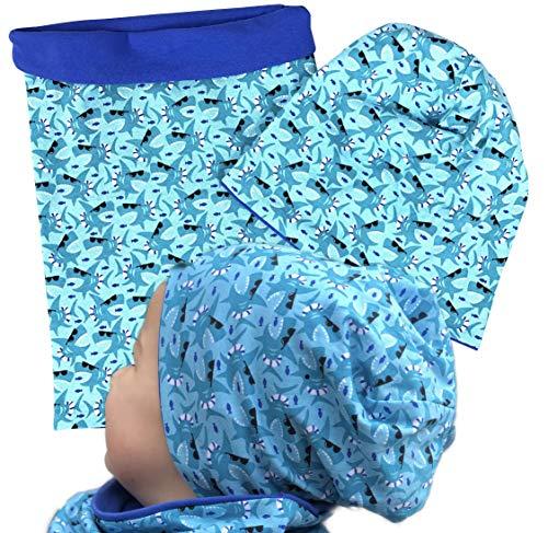 HECKBO Kinder Jungen Beanie Mütze & Loop-Schal Set   geeignet für Frühling, Sommer, Herbst   Wendemütze Hai Shark   2 bis 7 Jahren   95% Baumwolle   weiches & pflegeleichtes Stretch-Material