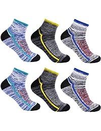 L&K 6 Paar Herren Thermo Sneaker Socken Baumwolle Sportsocken Dicke Gepolsterte-Sohle 3-Farben-Set 2104