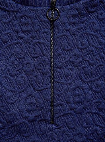 oodji Ultra Damen Lässiges Kleid aus Strukturiertem Stoff Blau (7500N)