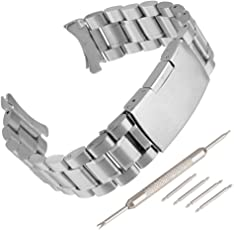 Beauty7 Herren Silber Edelstahl Uhrenarmband Kurve Anstoß Ersatzuhrband mit Faltschließe Verstellbar Metall Uhr Armband 16mm 18mm 20mm 22mm 24mm