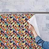 AZ Geometric Ornament Washable Waterproof Shower Curtain 54 x 84inch; SINGLE PIECE