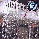 ZeleSouris 3m x 3m con 400 LED al aire libre Fiesta navidad hadas de la secuencia cortina de luz de la boda Luces decorativas de cortina Exterior / Interiro Guirnaldas decorativas para Navidad / Fiesta / Boda / Cumpleaños Christmas Curtain Light con efecto de nieve (blanco)