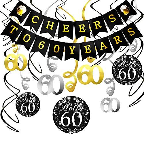 Konsait 60. Geburtstag Dekoration Set, Cheers Zum 60. Geburtstag Girlande Banner Folie Spirale Deckenhänger, Perfekte Männer und Frauen 60. Geburtstags Jahrestags Party Dekorationen Partyzubehör