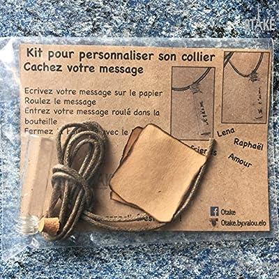 Cadeau personnalisé : Collier bouteille en verre pendentif à personnaliser - KIT Message dans une Bouteille