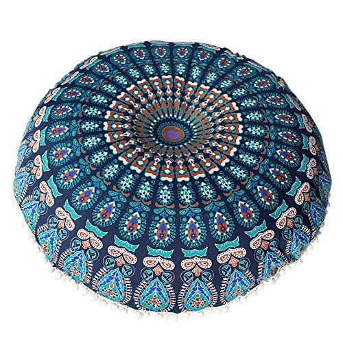 VJGOAL Large Mandala Floor Pillows Round Bohemia impresión Meditación Cojín Funda Otomana...