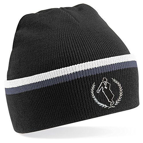 Ska Man Two Tone Knitted Ski Hat. Black
