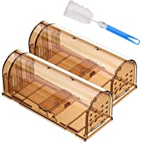 Godmorn Humane Mouse Trap 2 Pack with Cleaning Brush, 20cm Large Reusable Rodent Trap, No Kill Mice Live Catcher for Indoor & Outdoor, Pets & Children Friendly, Washable, Easy Set-up (Brown)