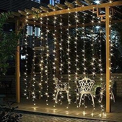 SALCAR 3 * 3 M 300 LEDs Guirlande Lumière Coloré de Noël LED, 8 Effets d'Eclairage, Lumière de Rideau pour Intérieur Extérieur Décoration Chambre Fenetre Fêtes Party Mariage (Blanc Chaud)
