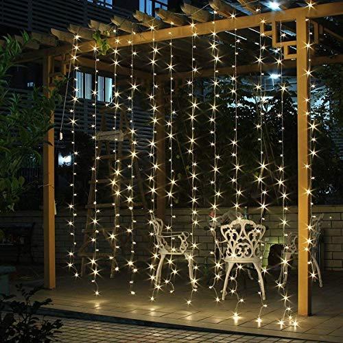 SALCAR LED Lichtvorhang 9 * 3m IP44 900er LED Lichterkette 8 Modi LED Deko für Weihnachten, Hochzeit, Party, Weihnachtsbeleuchtung - Warmweiß