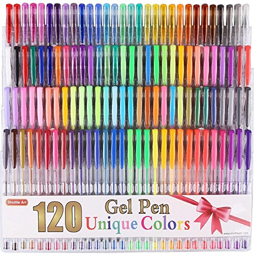 Gelstifte Set, Shuttle Art 120 Farben Gelschreiber Kunst Markers Ideal für Erwachsene zum Malbuch Doodling Zeichnung Schreiben