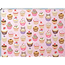 Tela de tapicería, tapicería tela, tapicería tela, cortina, tela - cupcakes, color de rosa de tela de algodón impresa de básicos - con cupcakes