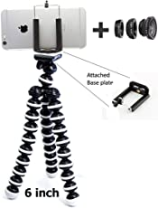 king shine 6-inch Flexible Mini Tripod for Camera, DSLR and Smartphones with Universal Mobile Attachment and Free 3 in 1 Lens Kit