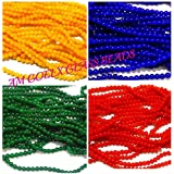 Glass Beads Multicolors Combo 4 Colors- Size 8mm Round For Jewellery Making, Crafts Pack Of 100 Beads