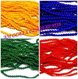 #7: Glass beads Multicolors combo 4 colors- size 8mm round for jewellery making, crafts pack of 100 beads