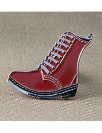 Prendedor de metal esmaltado, insignia de bota de scooter de mod, color piel marrón de DM