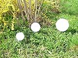 3 x LED Solarleuchte MARA 15+20+30 Gartenleuchte Kugelleuchte mit Erdspieß Bodenleuchte Dekoration Kugelset, das Licht ist umschaltbar zwischen weiß und farbwechselnd.