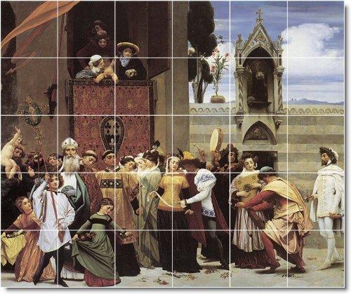 FREDERICK LEIGHTON HISTORICA BALDOSA CERAMICA MURAL CON 3  40 X 121 92 CM (30) 8 X 8 AZULEJOS DE CERAMICA