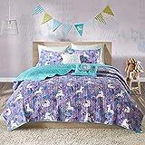 SCM Tagesdecke 172x223cm Bettüberwurf Steppdecke Gesteppte Bettdecke mit Einhorn Sternchen Wolke Mädchen Jungs Baby Bettset Unicorn Lola türkis violett
