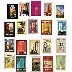20 tarjetas postales de viaje distintas de estilo retro