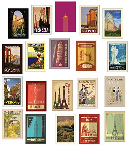 Foto de 20 tarjetas postales de viaje distintas de estilo retro