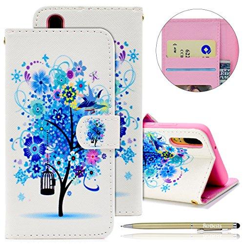 Herbests Handytasche für Huawei P20 Handyhülle Lederhülle Flip Hülle Leder Klapphülle Ledertasche Bookstyle Tasche Schutzhüllen Flip Case Cover Kartenfächer,Blau Blumen Vogel