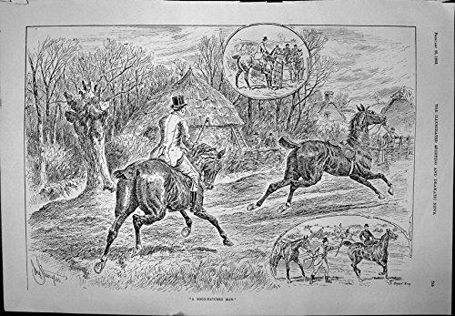 Stampi l'Uomo che Assiste Nella Caccia che Prende la Corte Sciolta 1892 201J705 di Whitehall del Cavallo