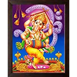 Art N Store Lord Ganesha/Ganpati In Dancing Painting/High Contrast HD Printed Picture/Wall Decor & Religious Poster Painting With Frame (30 X 23.5 X 1.5 Cm_ Acrylic Sheet Used)