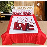 ABONY Big Love With Hearts Print Satin Double Bedsheet & 2 Pillow Covers