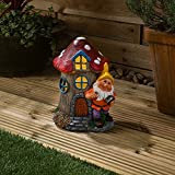 Christow Solar Powered Gnome Fairy House LED Garden Light Outdoor Ornament Toadstool